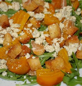 Golden Beet & Tangerine Salad over Baby Arugula with Blue Cheese